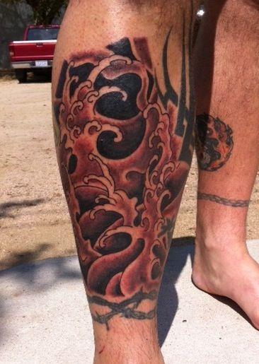 Japanese wave Tattoo - Red | tattoos | Pinterest
