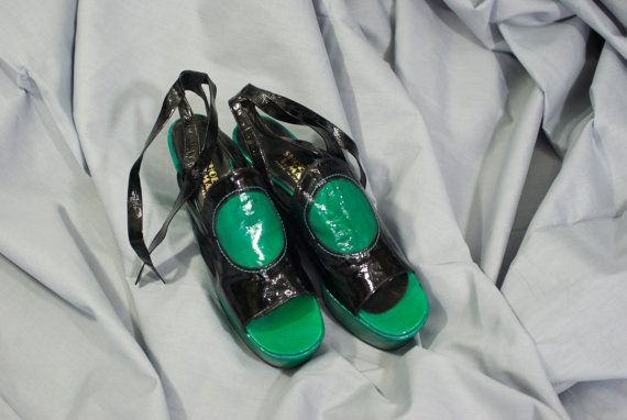 70's strappy Shoe Biz black and green patent by LorrelMae on Etsy, $298.00