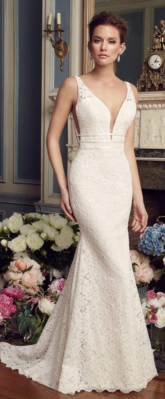 Lace v neck wedding dress  Romantic Lace Vneck Neckline Mermaid Wedding Dress With Belt