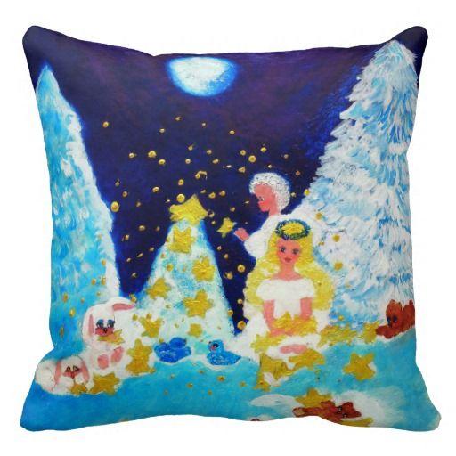 Angels in the Moonlit Forest Designer Art Pillow by artist Marie-Jose Pappas of Innocent Originals