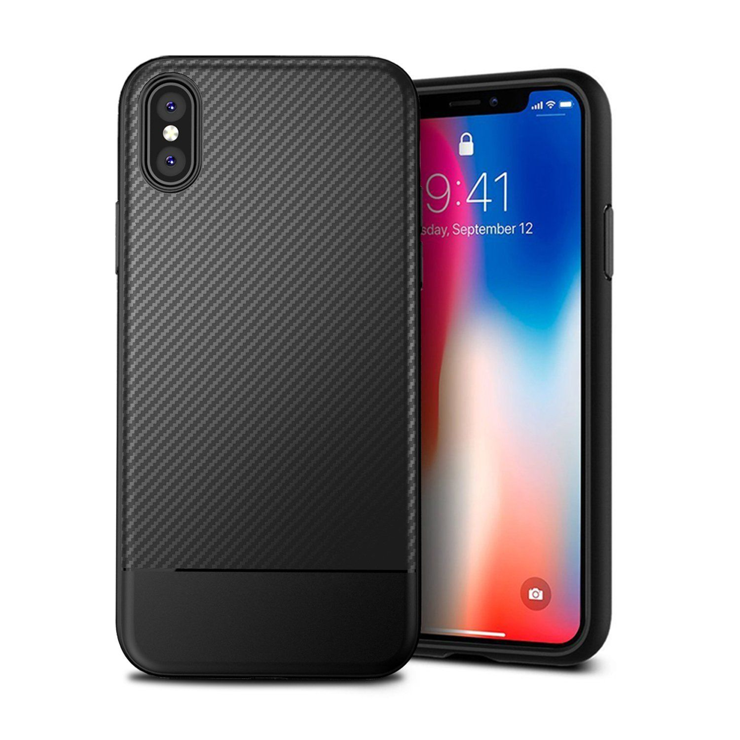 Iphone X Case Iphone 10 Phone Case Carbon Fiber Texture Tpu Ultra Thin Lightweight Flexible Cover Premium Soft Silicone Dustpro Iphone 10 Iphone Soft Silicone