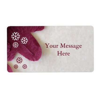 Personalized Red Snowflakes Christmas Labels - holiday card diy - christmas tag template