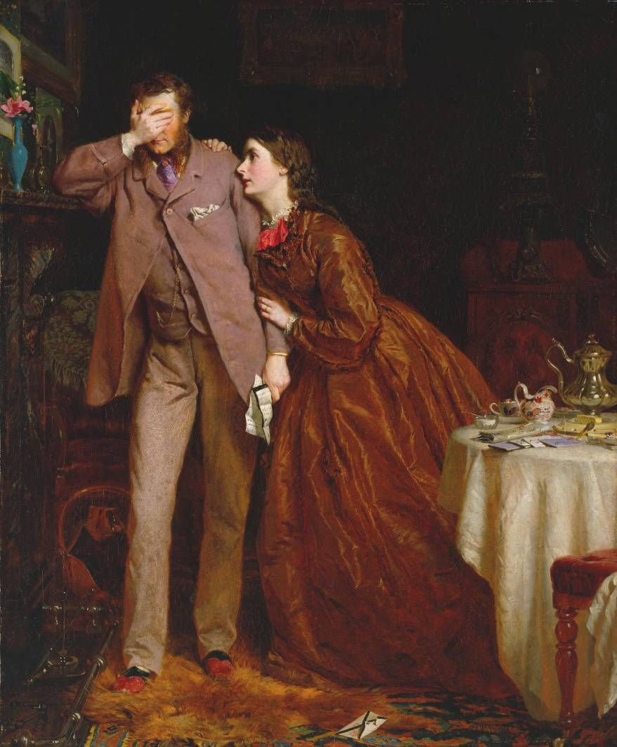 """Woman's Mission: Companion of Manhood"", 1863 by George Elgar Hicks (1824-1914). The sentiments of this painting are,of course, entirely out of date, but, even in his grief this gentleman still looks smart in his day suit. Buttoning the jacket with only the top button was the fashionable and practicle way to wear these long jackets at this period - note his red and green leather slippers. The Victorians loved to tell a story in their paintings, the more sentimental the better."