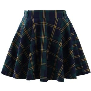 Chicwish Green Plaid Check Skater Skirt