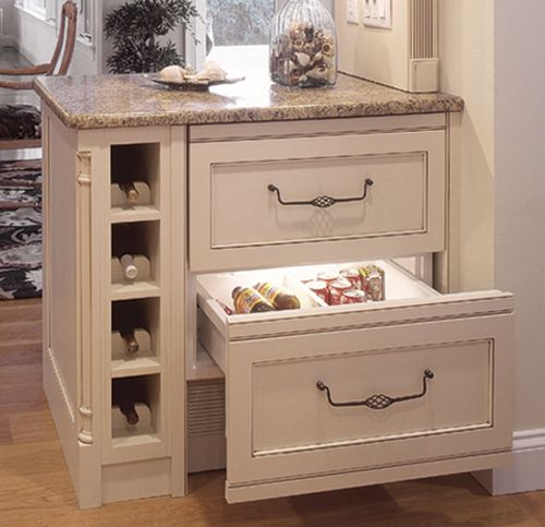 Wine Cubby, Refrigerator Drawers With Panel Fronts
