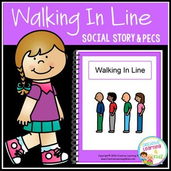 Social Story Walking in Line Book + PECS Autism Speech delay - line leader