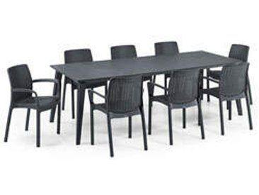 Gartenmobelset Tisch Lima 160 240 Cm Graphit Und 8 Sessel Bali