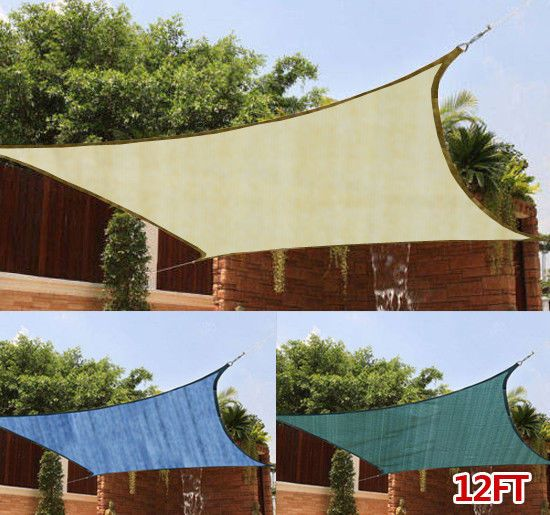 12FT Outdoor Patio Square Sun Sail Shade cover Canopy Top Awning Shelter Garden #Outsunny. & 12FT Square Outdoor Patio Sun Sail Shade cover Canopy Top Awning ...