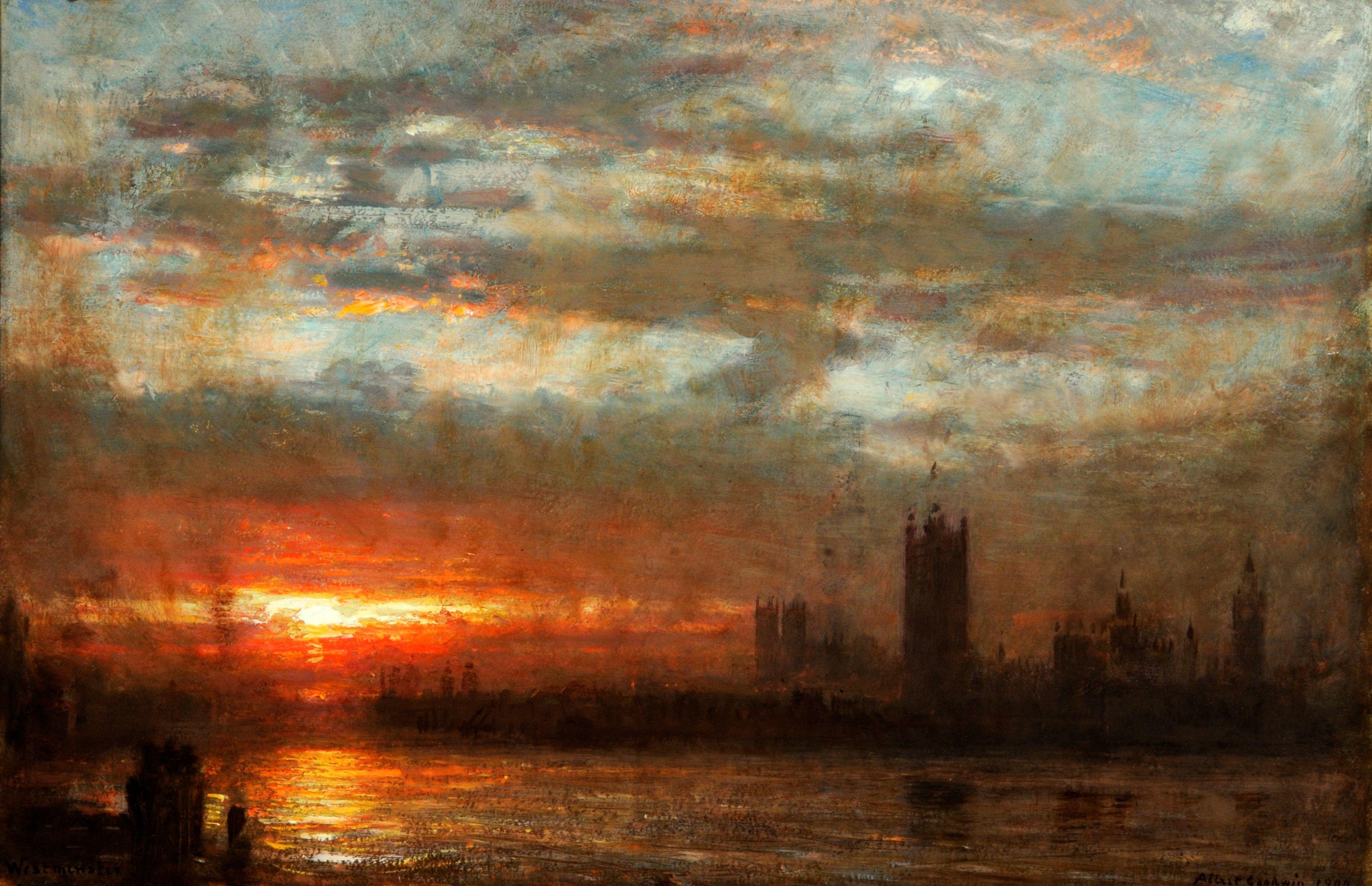 Albert goodwin 1900 westminster sunset misc art for Artwork landscapes