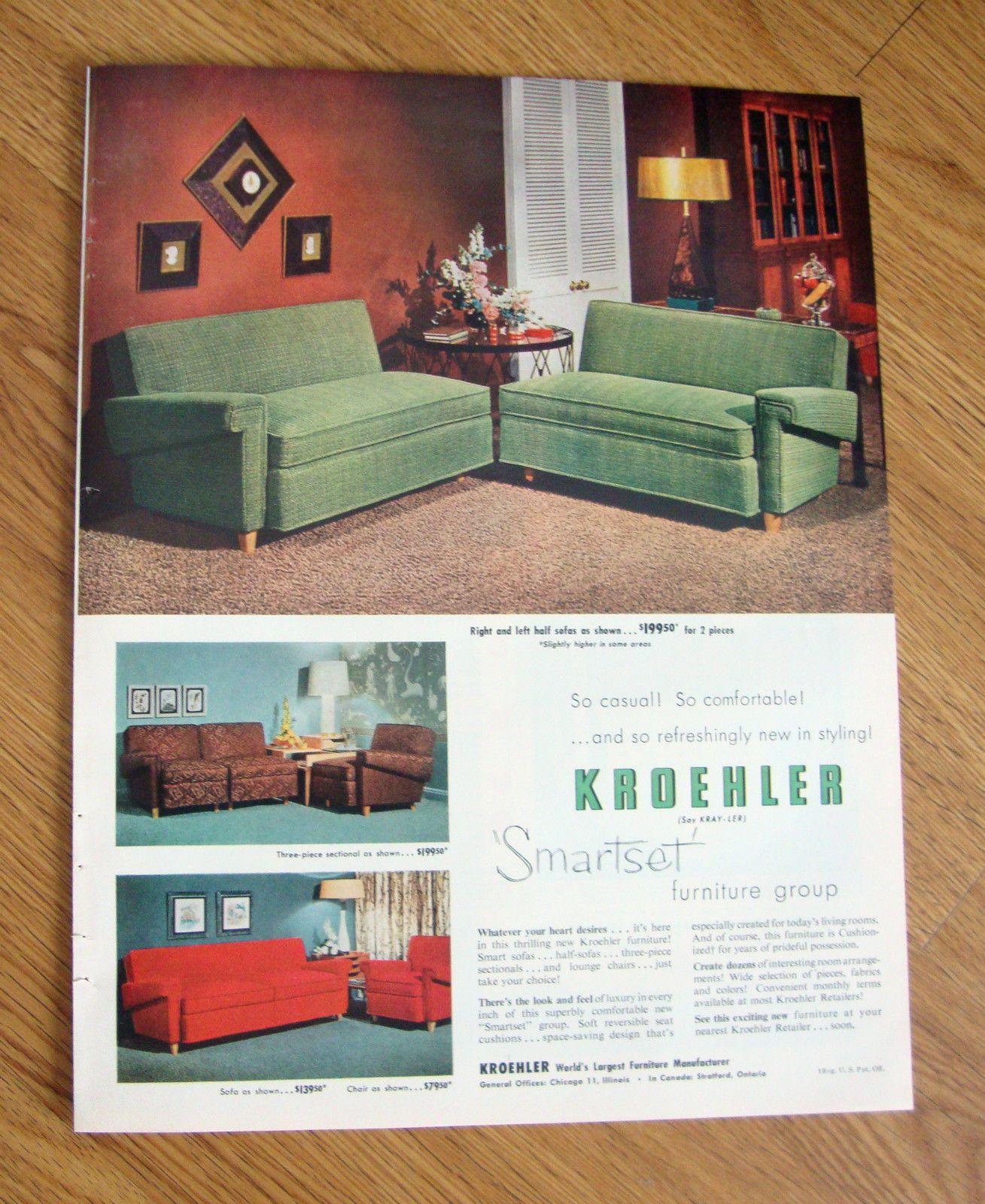 1953 Kroehler Furniture Ad Right Left Half Sofas Kroehler Furniture Furniture Furniture Ads