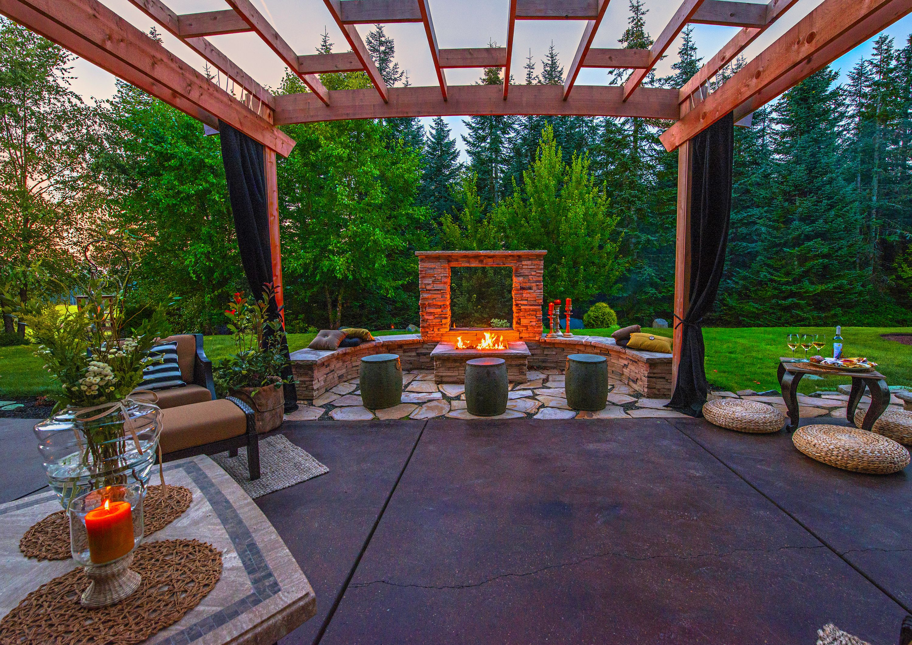Refection Wall View Window Firepit Under Pergola Http Www Paradiserestored Com Landscaping Blog Exterior Design Rev Outdoor Living Design Outdoor Rooms Patio