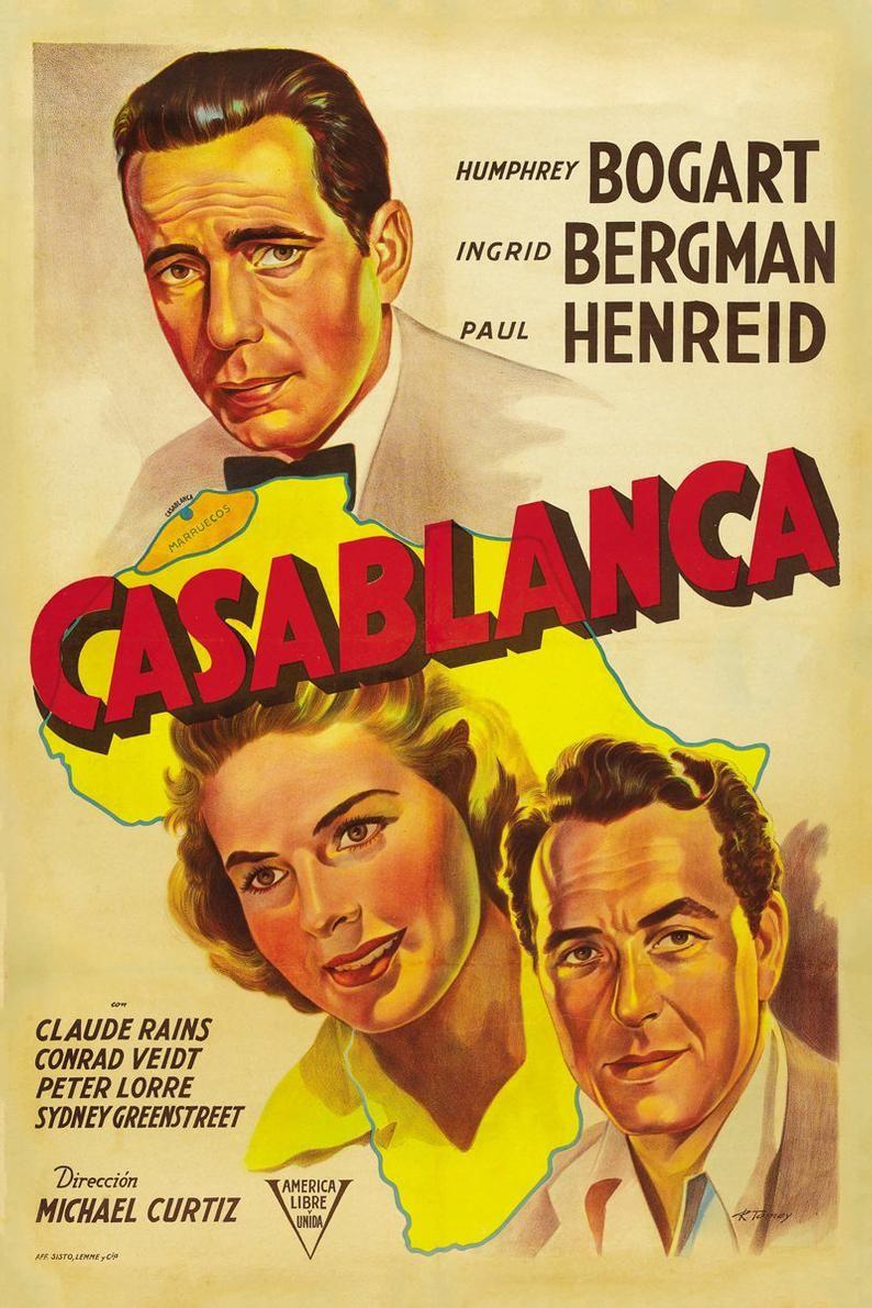 Casablanca Poster, casablanca vintage, old movies, casablanca film art, casablanca, casablanca movie, vintage movie poster, vintage movie