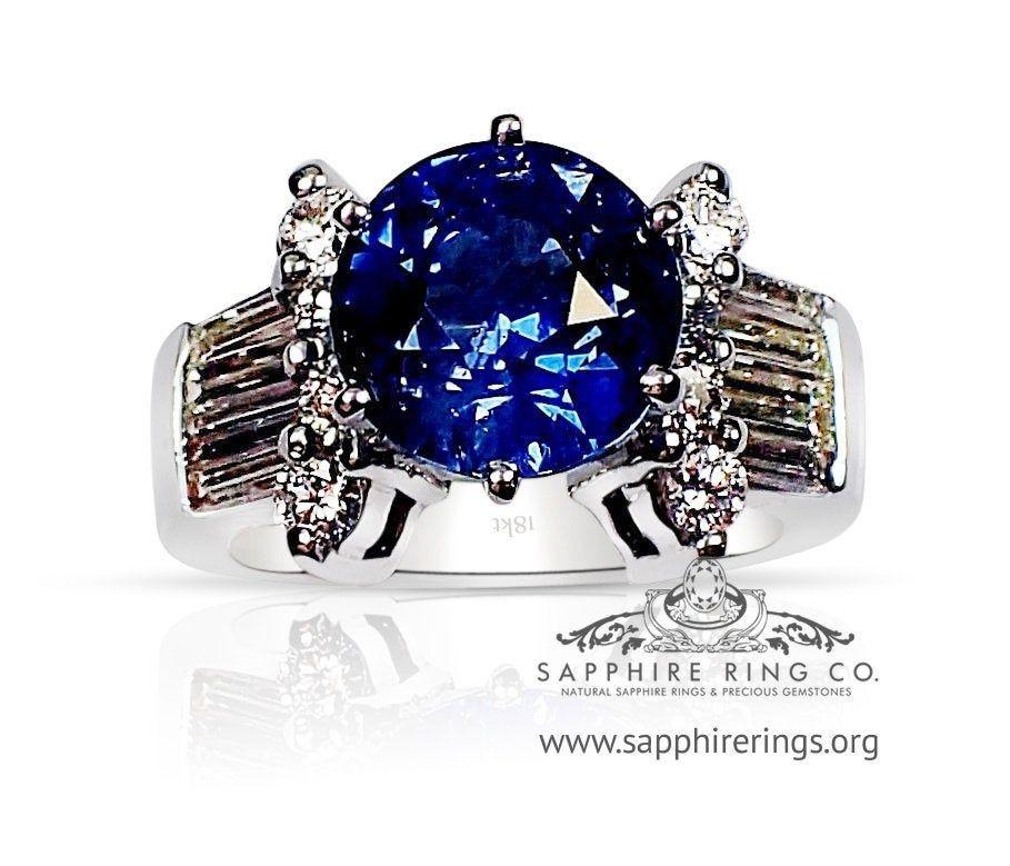 Blue Sapphire And Diamond 12 Grams Ring 18kt White Gold Round Etsy In 2020 Blue Sapphire Rings Blue Sapphire White Gold