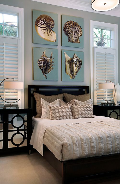 Photo of Inspiration for Coastal Living decor. Love the 4 shell pictures above the bed! W…