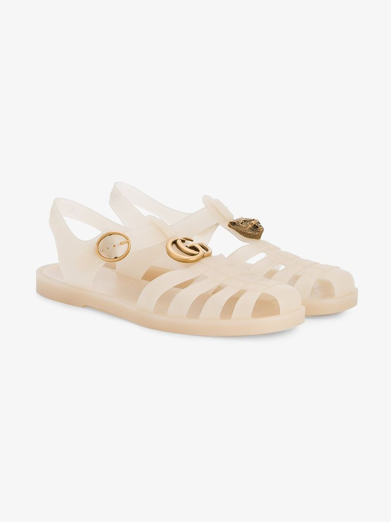 7b28ebb37d8 GUCCI NUDE BUCKLE STRAP JELLY SANDALS.  gucci  shoes  synthetic- carbon