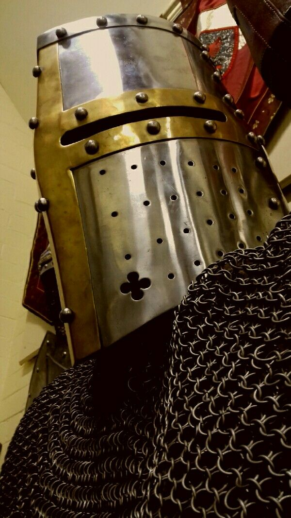 Full face Great Helm over chain mail