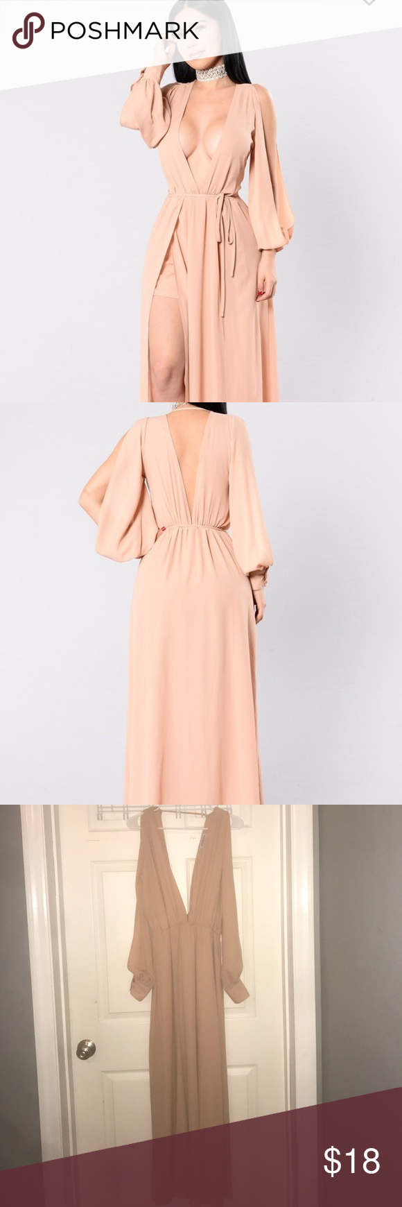ccb128abf7c  BRAND NEW  Fashion Nova Maxi Dress w Belt Size M Fashion Nova Maxi Nude  Dress. Brand New with Tags and Belt. Size  Medium. Never worn. No rips or  stains.