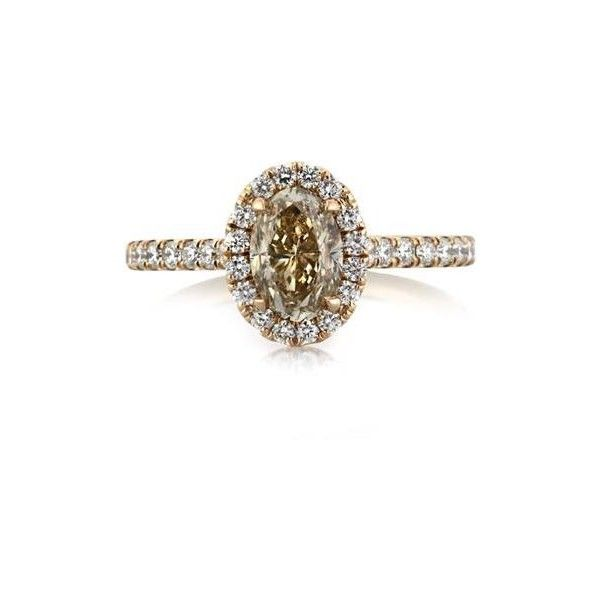 Mark Broumand 1.62ct Fancy Light Yellowish Brown Oval Cut Diamond... (46 675 SEK) ❤ liked on Polyvore featuring jewelry, rings, rose gold, fancy rings, brown ring, fancy engagement rings, round brilliant cut diamond ring and oval diamond engagement rings