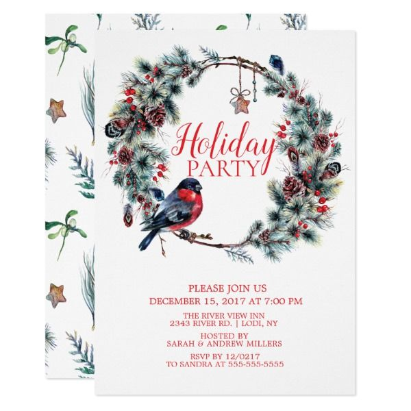 Christmas Wreath Bird Holiday Party Invitation Holiday party - holiday party invitation