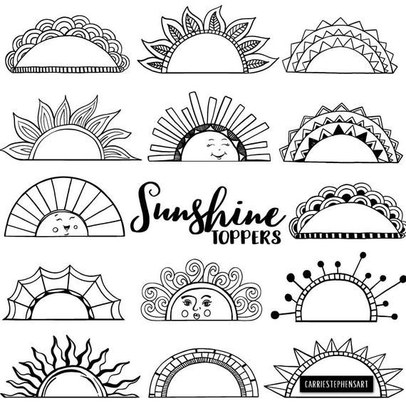 Printable Label ClipArt Tabs, Art Journal Graphic Border Frame, Black Line Art Doodle, Summer Sun, Happy Face, Commercial Use Download