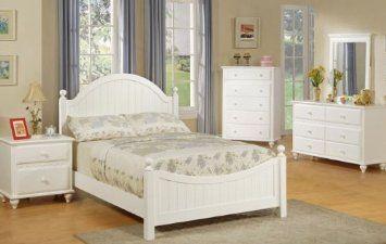 Amazon Com 4pcs Full Size Bedroom Set Cape Cod Style White Finish Furniture Decor Bedroom Set Full Size Bedroom Sets White Bedroom Furniture