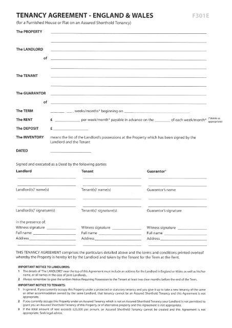 Tenancy Agreement England 8 Wales F301 E A List Lettings Tenancy Agreement Being A Landlord Agreement