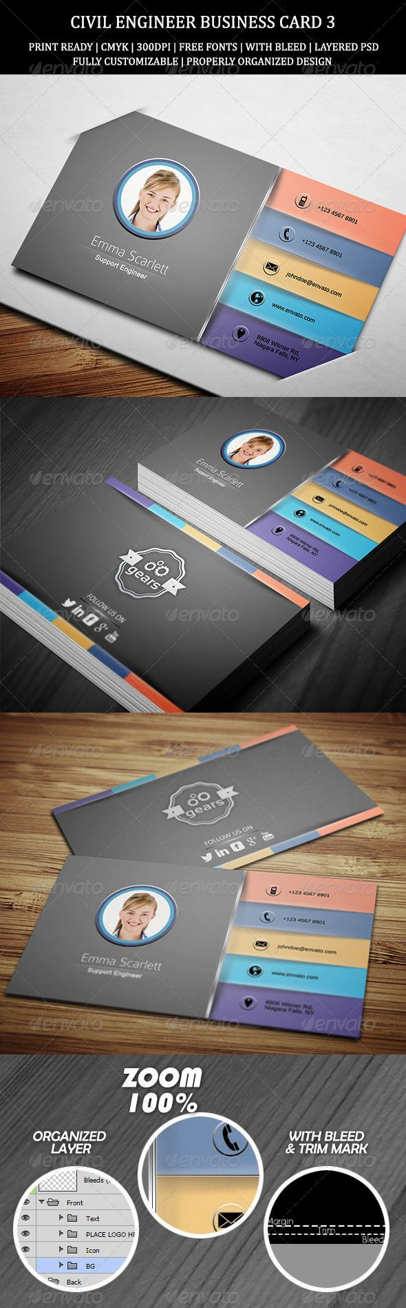 civil engineer business card 3 print templates business cards