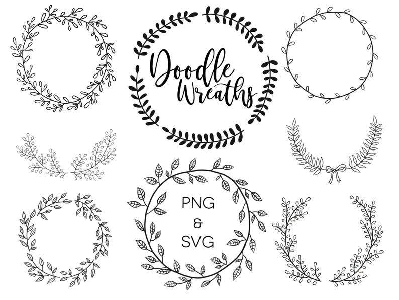 Photo of FLORAL POWERS, hand drawn wreaths, doodle clipart, floral wreaths, rustic, drawn wreaths, PNG, SVG, vector wreaths, wedding, minimal