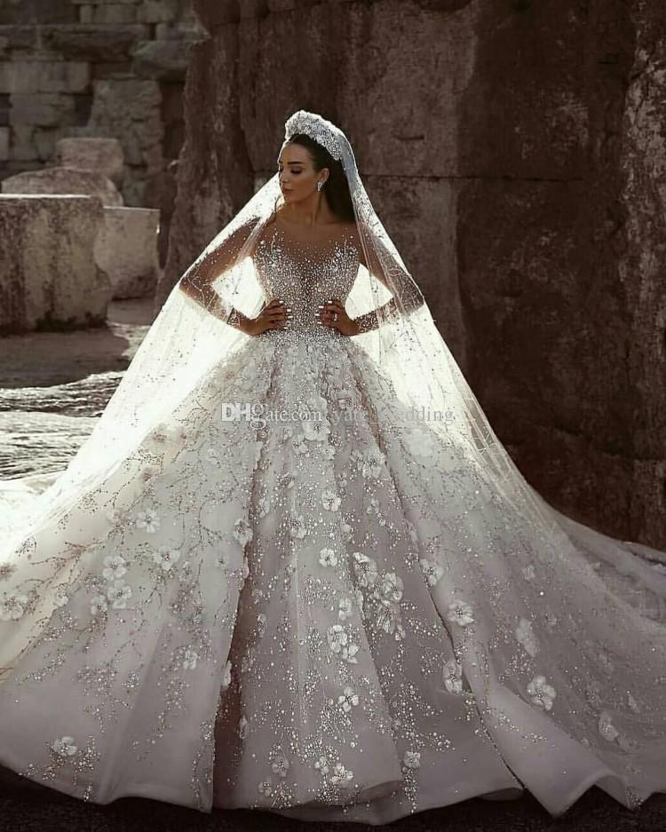 8134e633b2926 Luxury Ball Gown Wedding Dresses Sheer Neck Long Sleeves Beading Flowers  Tulle Saudi Arabic Budai Bridal Dresses Cathedral Train