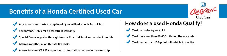 Certified Pre Owned Honda >> Benefits Of A Honda Certified Used Car Silko Honda In