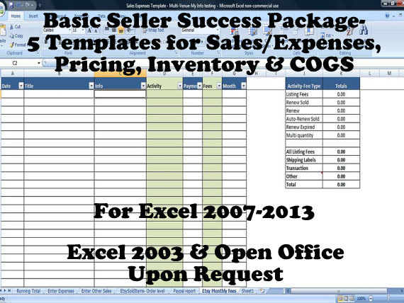 Basic Seller Success Package - 5 Templates for Sales/Expenses