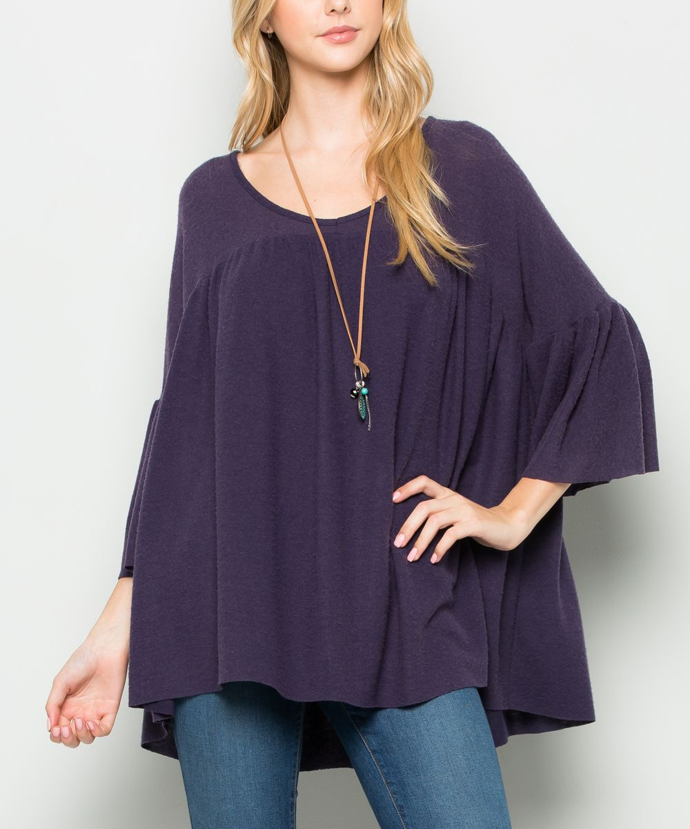Anthracite Bell-Sleeve Swing Tunic