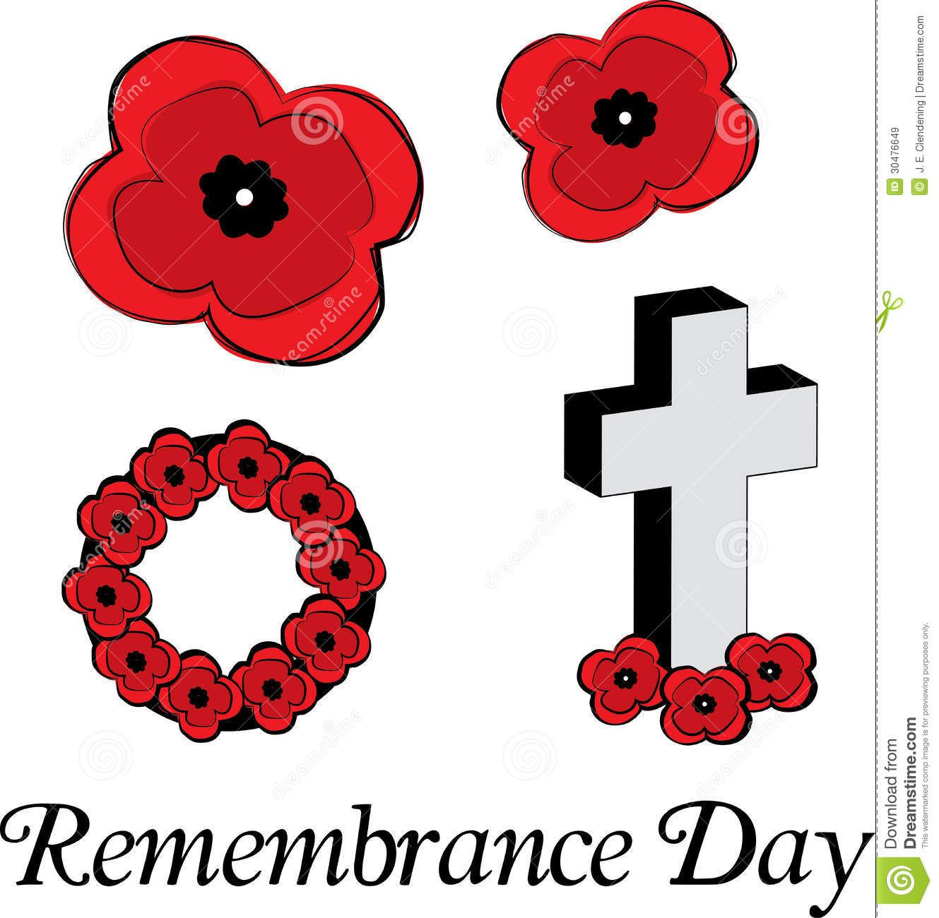 Remembrance Day Poppy Flowers Clipart