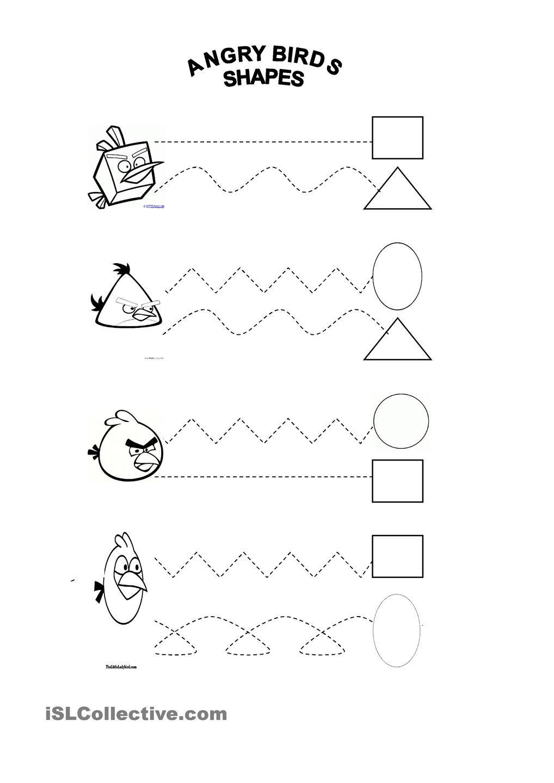 Shapes Angry Birds Angry Birds Pattern Activities Kindergarten Worksheets [ 1440 x 1018 Pixel ]