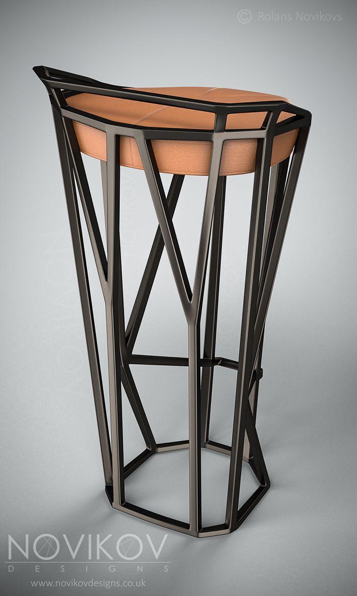 Octa Stool - Dark brown metallic frame with orange leather seat by ...