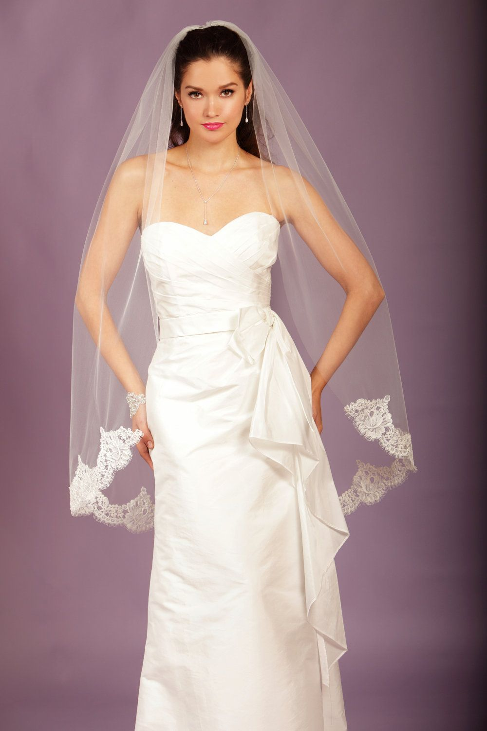 Ivory silk and lace wedding dress  COMBO Wedding Veil  Fingertip with Alencon Lace  made to order