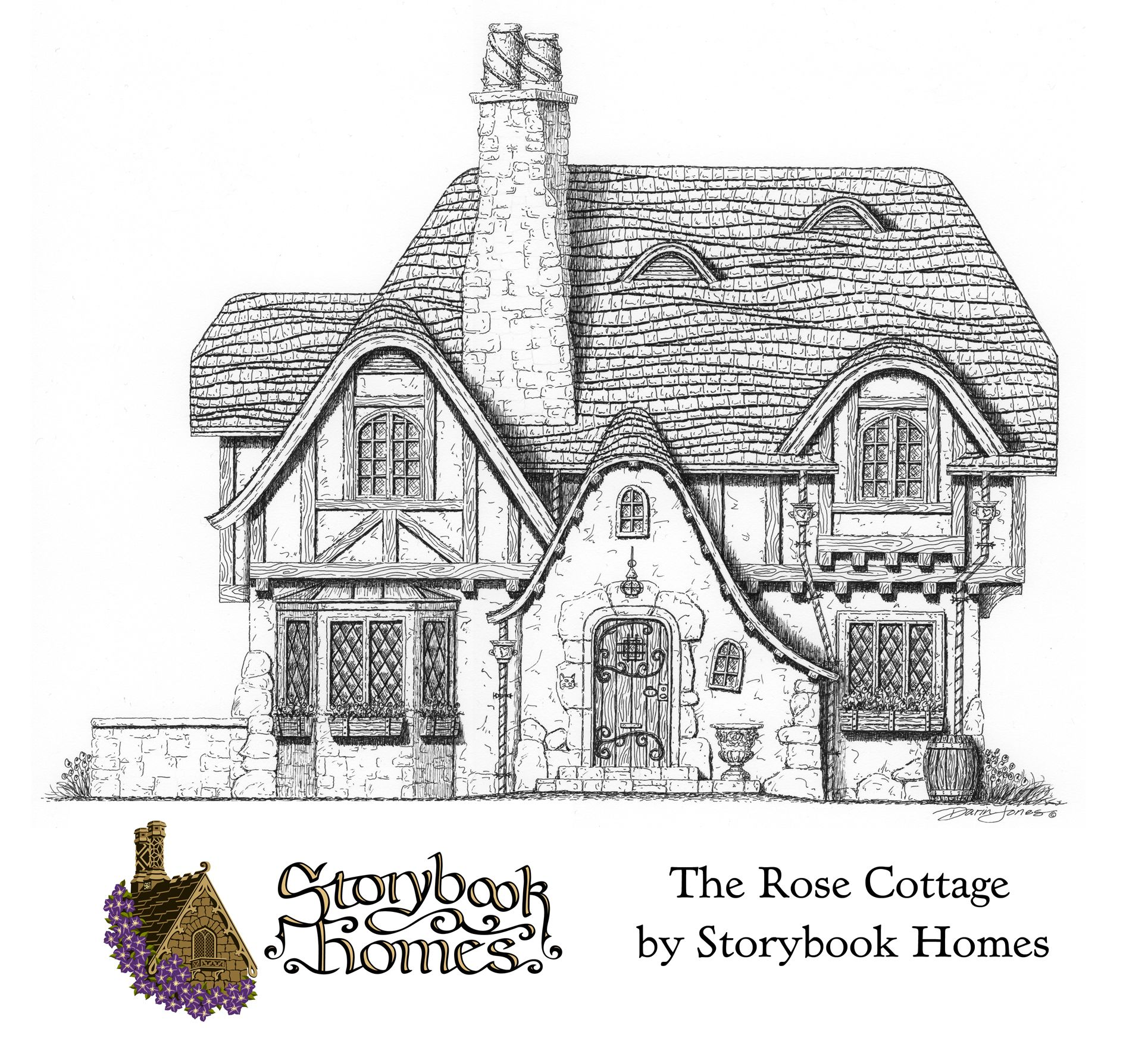 The rose cottage designed by storybook homes in the truly for Fairytale cottage home plans