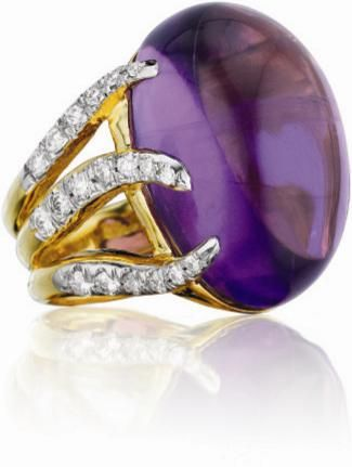 MARLENE STOWE  An Amethyst and Diamond Ring