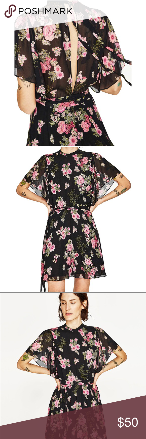 bb48f05836 Nwot Zara Black Floral Printed Flowy Mini Dress Printed dress with round  neck and short frilled sleeves . Contrast belt . Lined skirt .