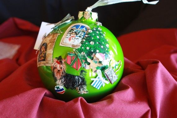 HAND+PAINTED+ORNAMENT++Yorkie++w/3d++Item+by+reneesprettypainted,+$22.95