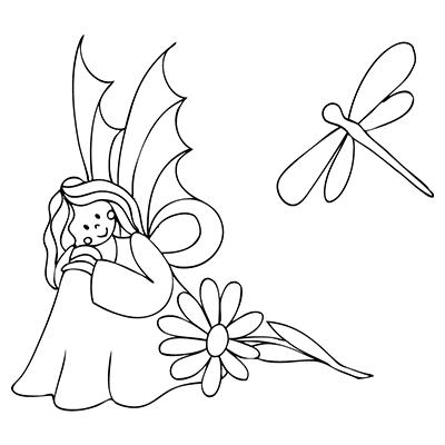"marabu window color malvorlage ""elfe kniend blume libelle"" marabu windowcolor malvorlage"