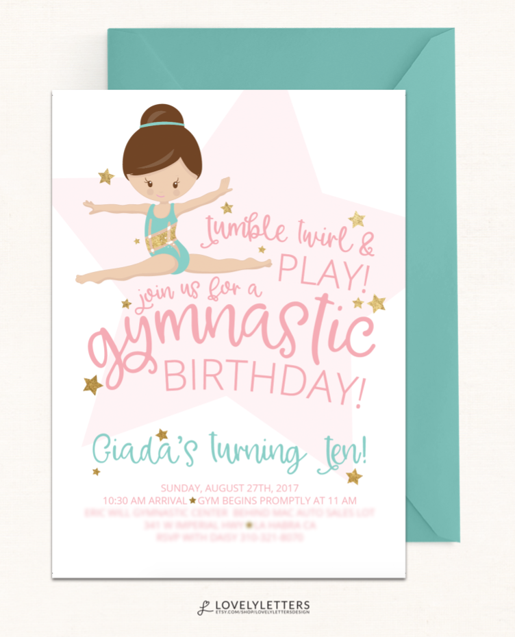 Gymnastics Birthday Invitation / DIGITAL / Gymnastics Invitation ...