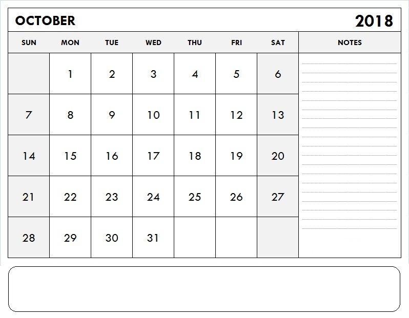 2018 October Calendar Template October 2018 Calendar Template