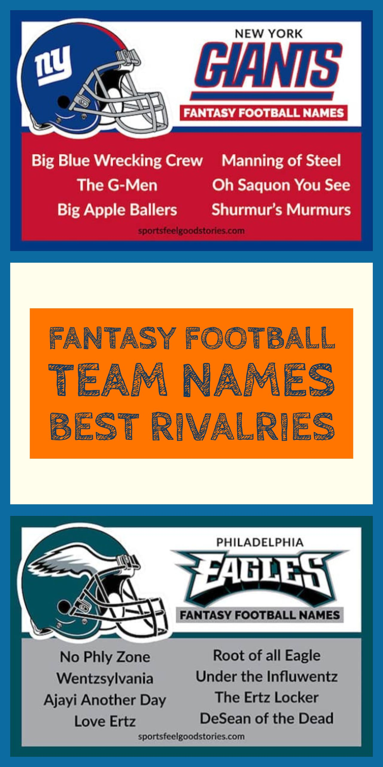 Best Fantasy Football Names Sorted By Team Sports Feel Good Stories Fantasy Football Names Football Team Names Football Names