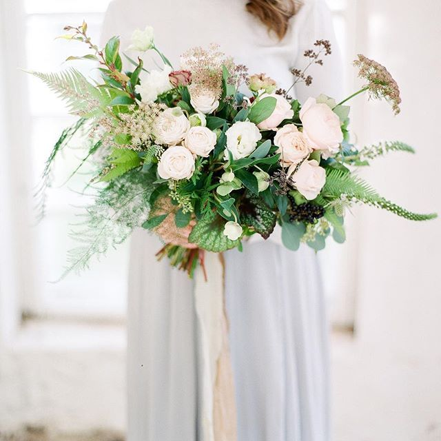 Delicate blooms together with foraged greenery. Photo: Petra Veikkola Photography  Flowers, design and styling by @michaela_heylook  Fashion styling by @paula_heylook  Modelling by @roomany   Scan by @carmencitalab
