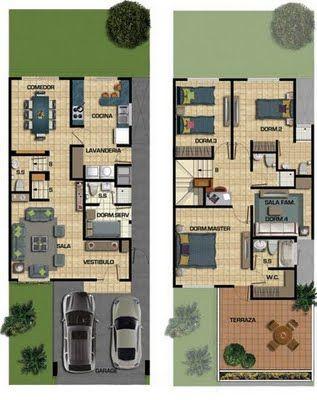 Plano de casa de 187m2 en dos pisos y 150m2 de terreno for Escaleras 15 metros