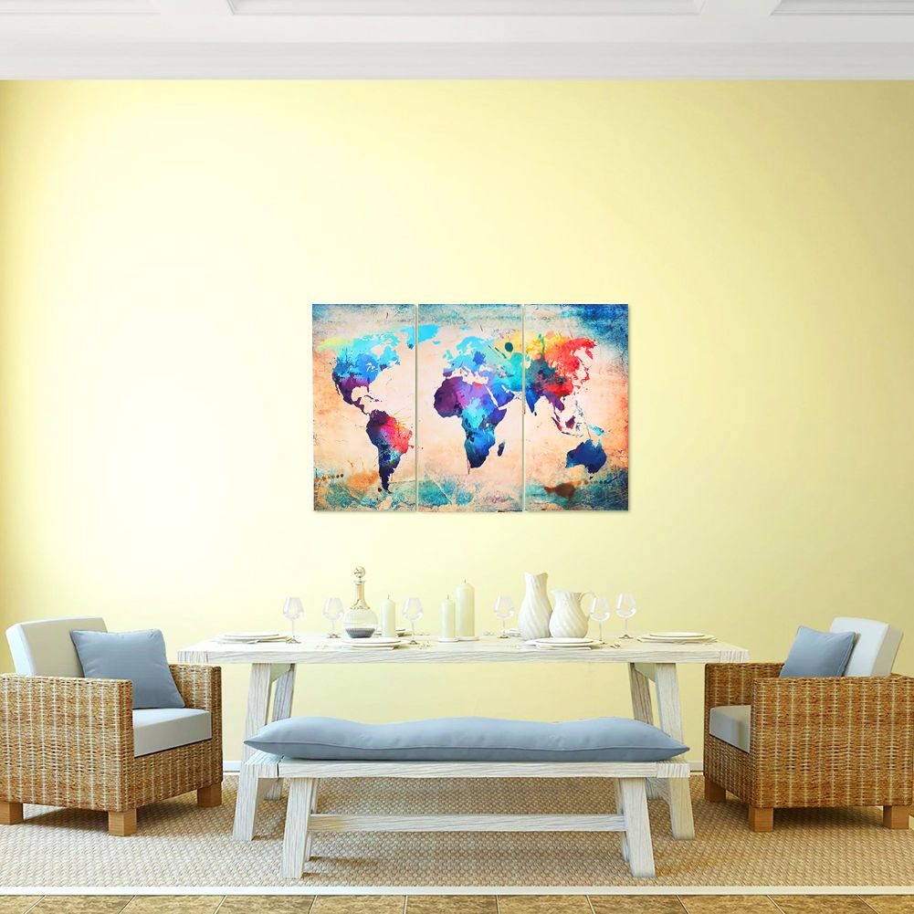 Fashion Canvas Art Print Triple World Globe Map Home Modern Wall ...