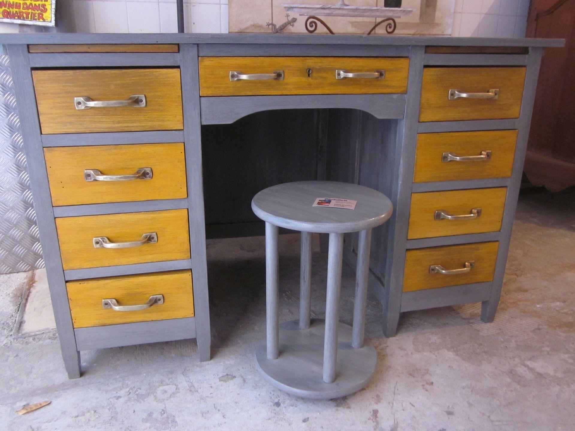 E bureau ancien restauré en peinture naturelle poignées métal