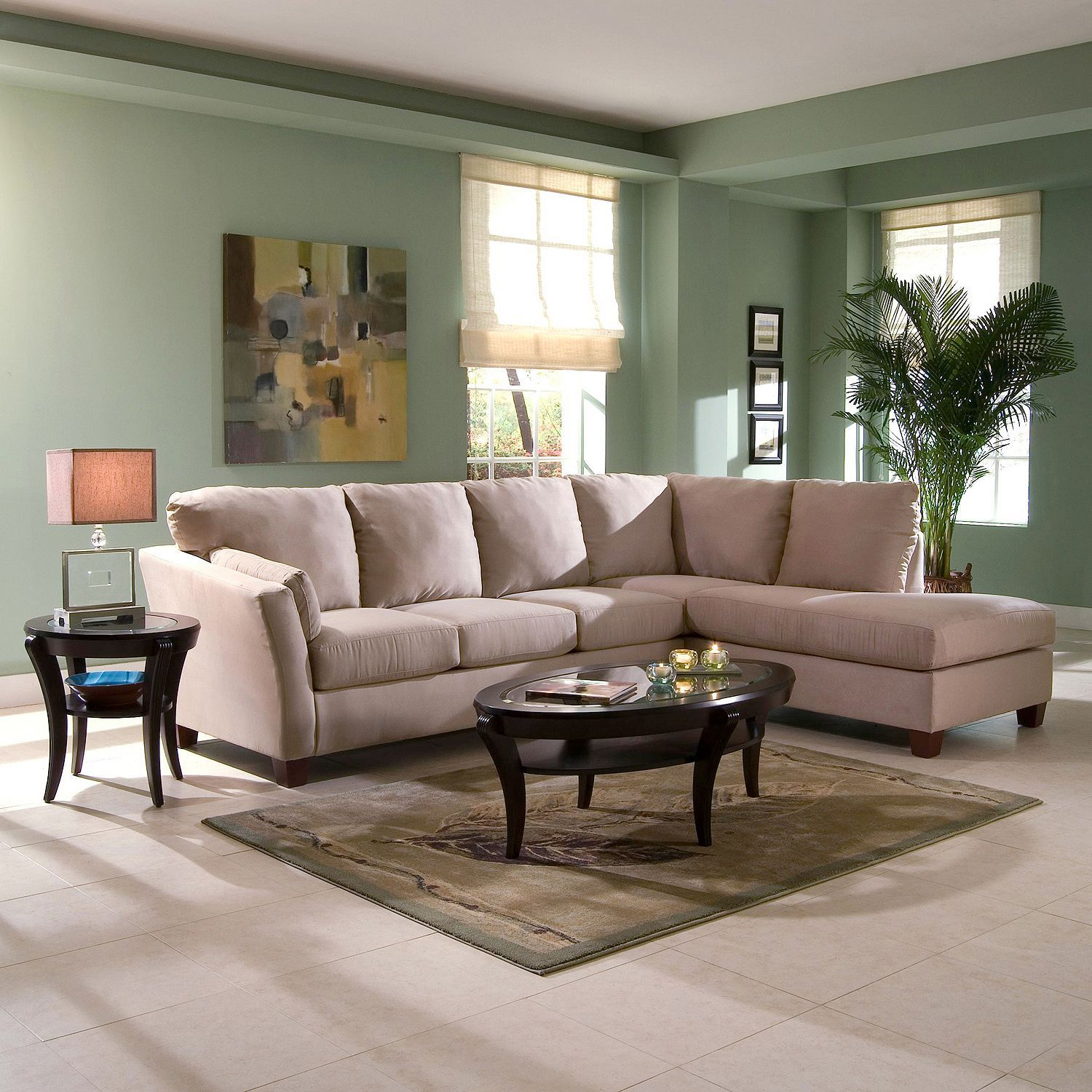Klaussner Furniture u2013 Drew Sectional Sofa in Khaki Microsuede with Right Facing Chaise - : andrew sectional sofa - Sectionals, Sofas & Couches