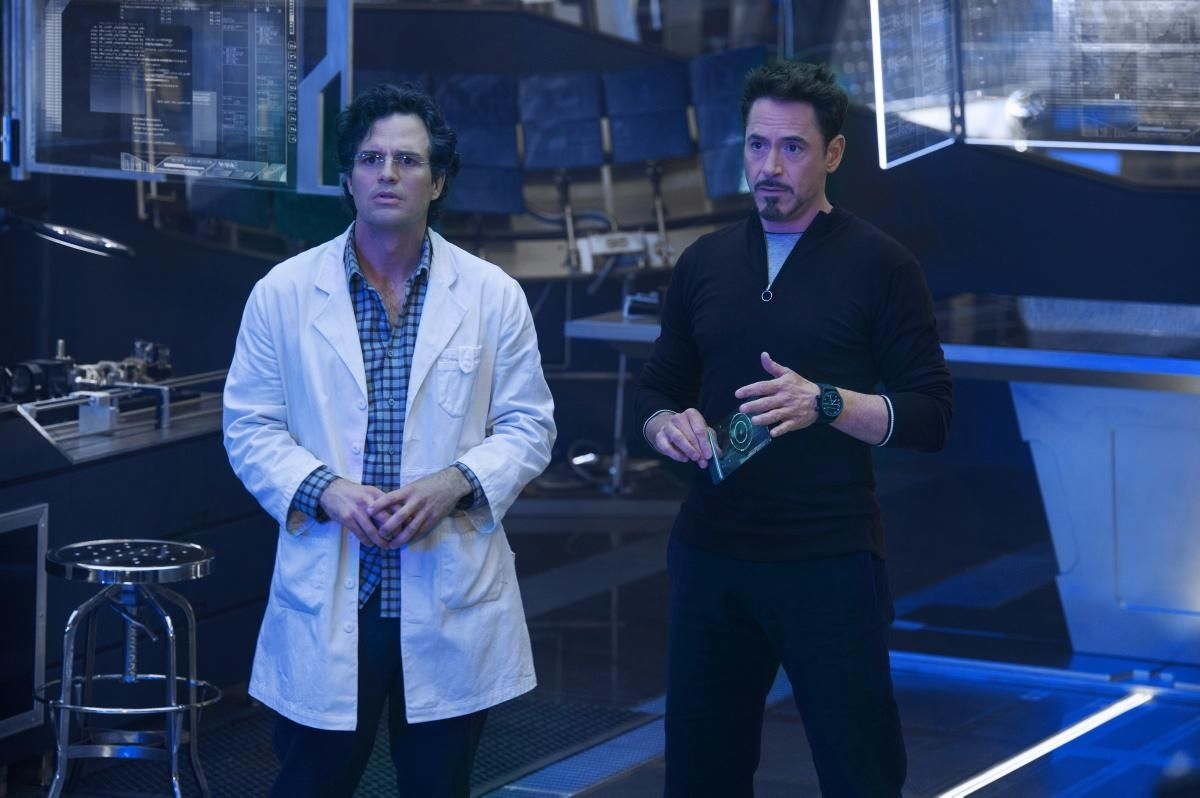 """Mark Ruffalo as Bruce Banner/Hulk stars opposite Robert Downey Jr. as Tony Stark/Iron Man during the """"Avengers: Age of Ultron"""" movie due to release on May 1, 2015."""